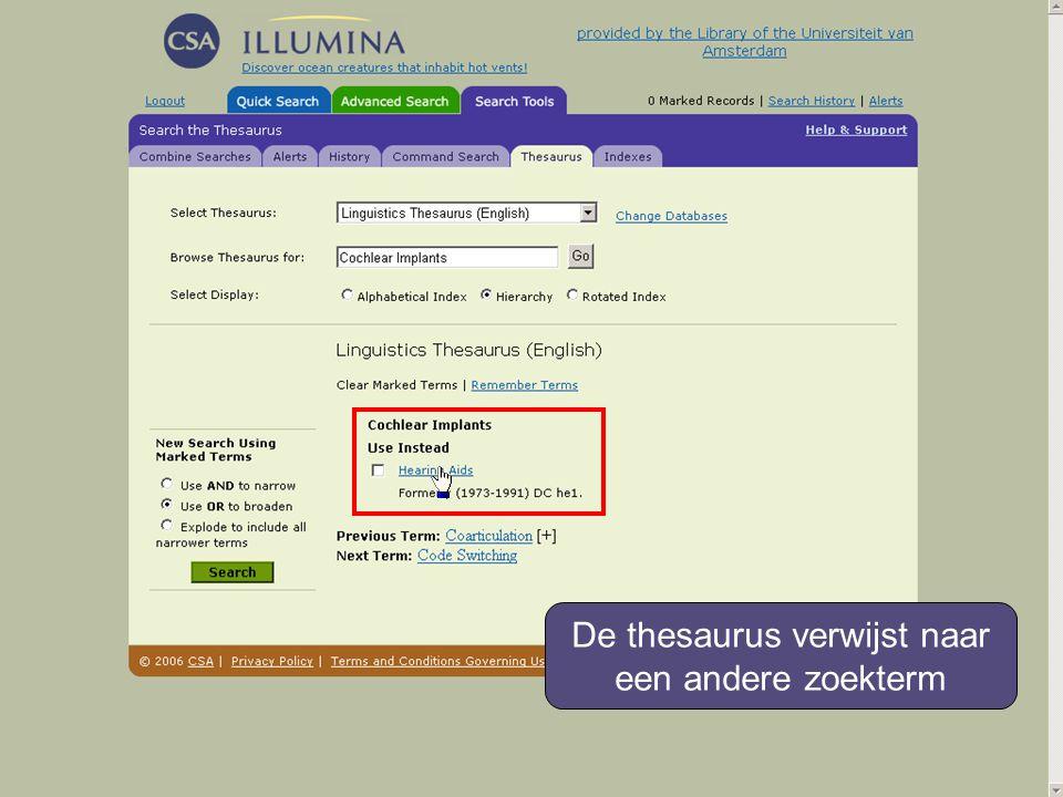 De thesaurus verwijst naar een andere zoekterm