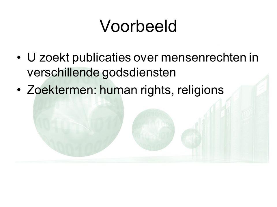 Voorbeeld U zoekt publicaties over mensenrechten in verschillende godsdiensten Zoektermen: human rights, religions