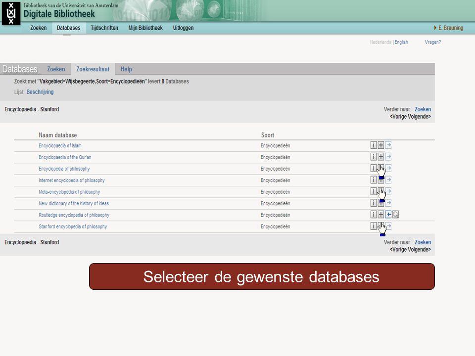 Selecteer de gewenste databases
