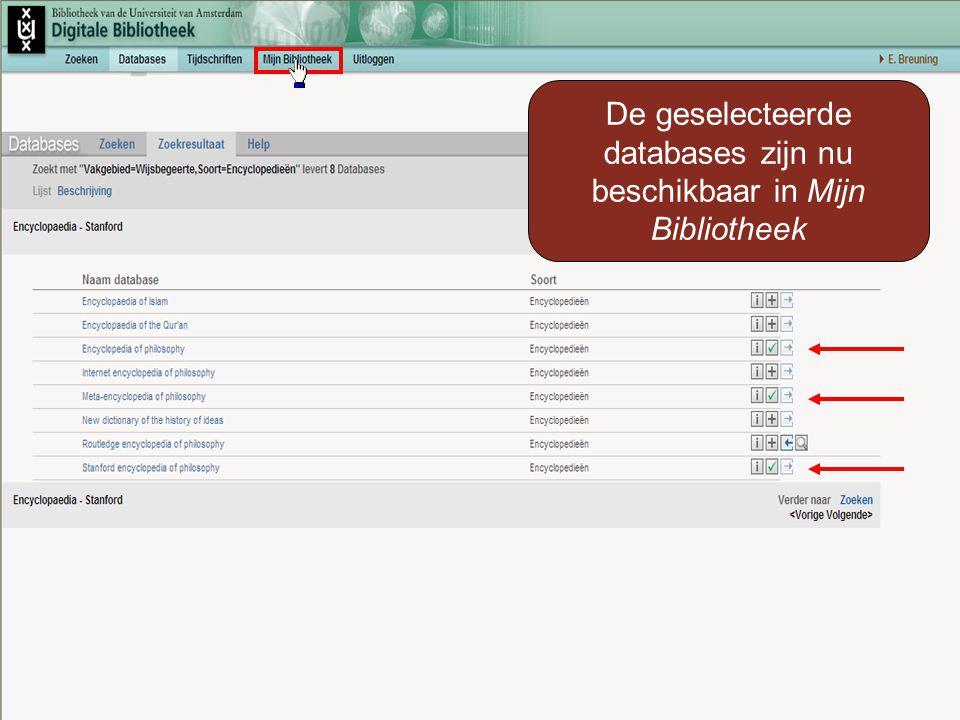 De geselecteerde databases zijn nu beschikbaar in Mijn Bibliotheek