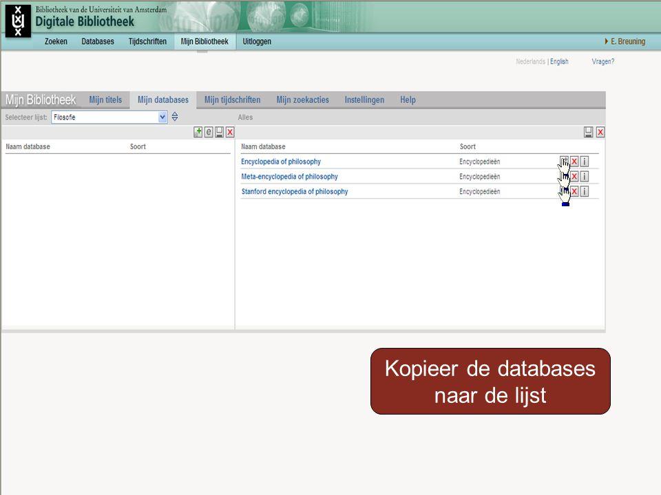 Kopieer de databases naar de lijst