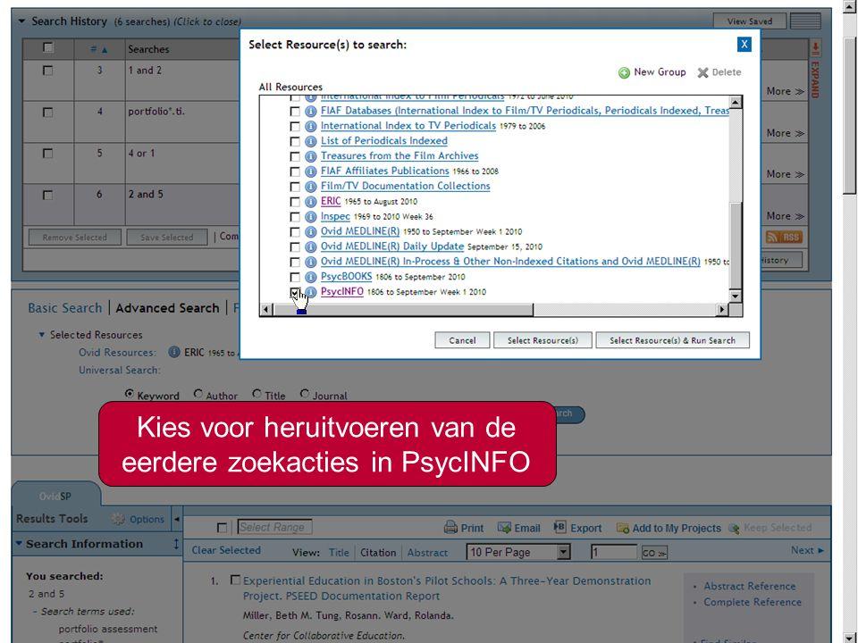 4 Kies voor heruitvoeren van de eerdere zoekacties in PsycINFO