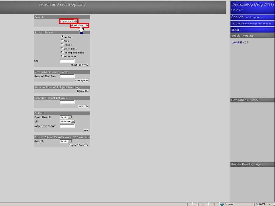 Onder Session Results ziet u het aantal treffers Klik weer op Search voor het combineren van deze treffers