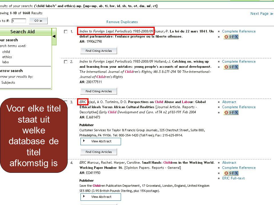 Samenvatting Als u met uw zoekvraag weinig titels vindt Kunt u deze zoekvraag in andere Ovid-databases stellen Klik op knop Change Database Selecteer relevante databases Klik op Open Selected Resources Klik op Open & Re-Execute Klik op Display voor weergave van de titels
