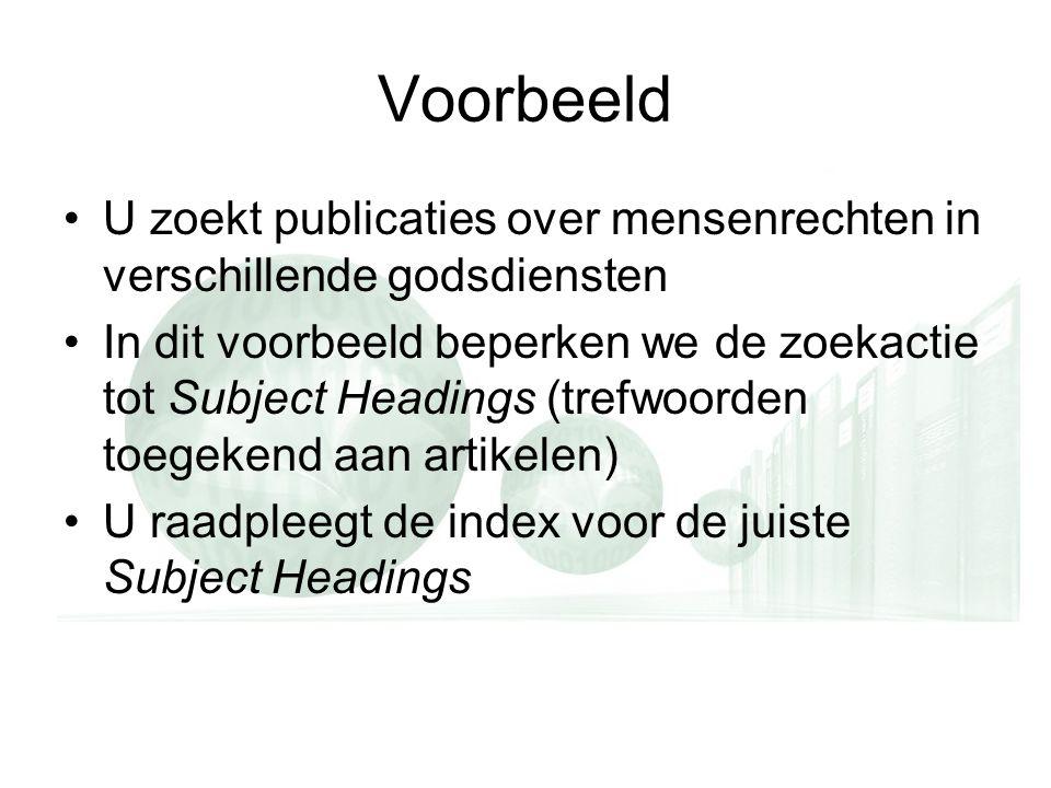 Voorbeeld U zoekt publicaties over mensenrechten in verschillende godsdiensten In dit voorbeeld beperken we de zoekactie tot Subject Headings (trefwoorden toegekend aan artikelen) U raadpleegt de index voor de juiste Subject Headings