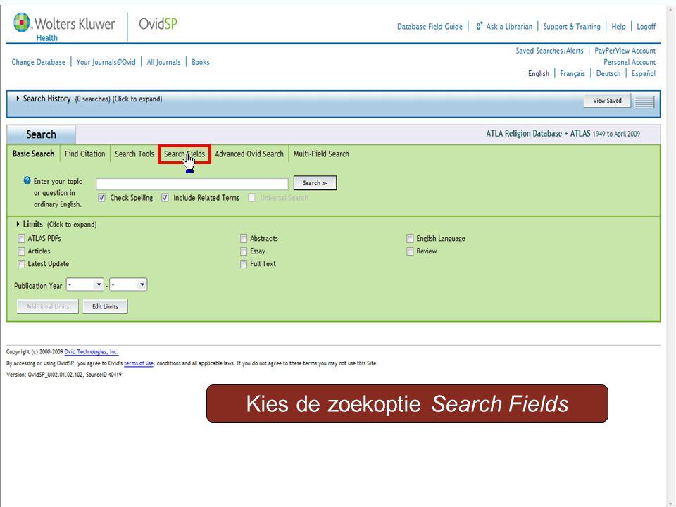 Kies de zoekoptie Search Fields