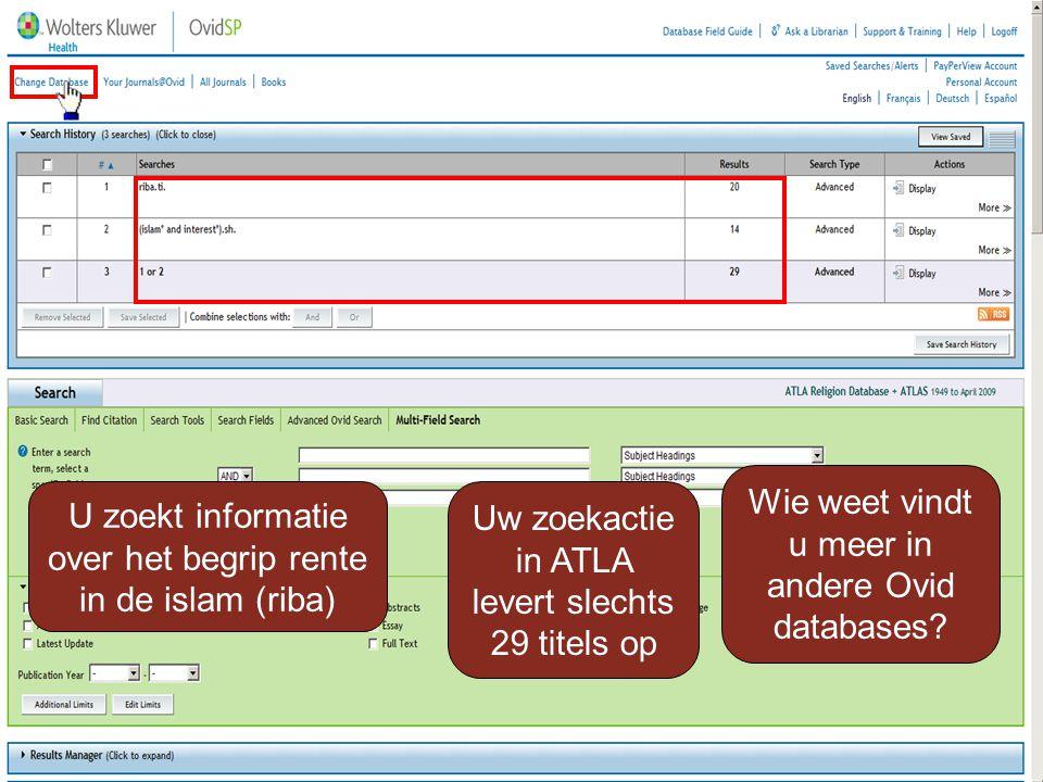 U zoekt informatie over het begrip rente in de islam (riba) Uw zoekactie in ATLA levert slechts 29 titels op Wie weet vindt u meer in andere Ovid databases