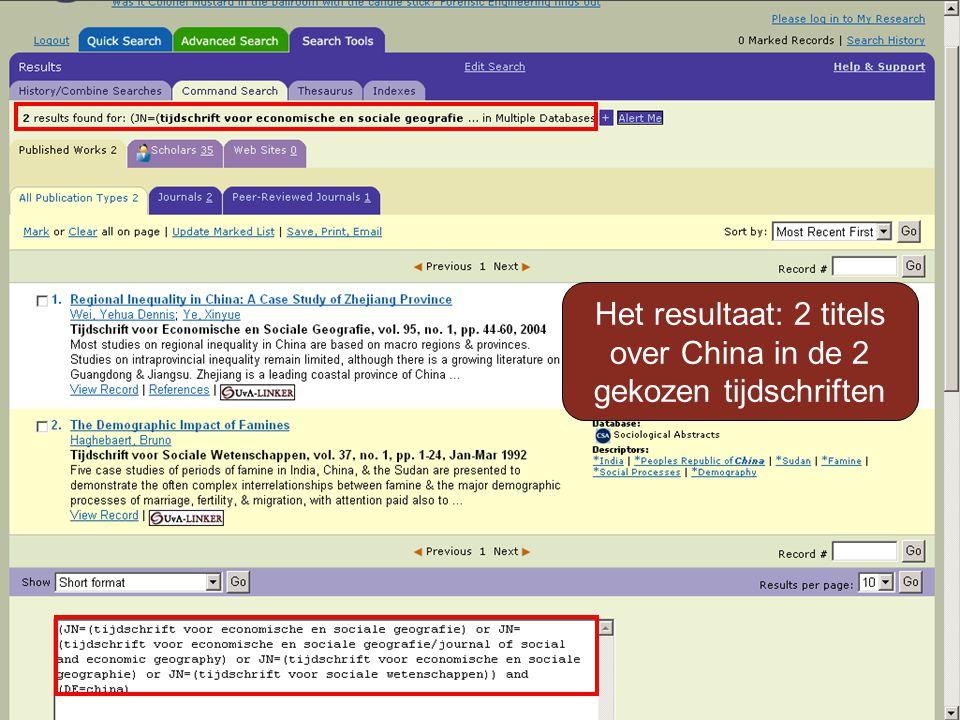 Het resultaat: 2 titels over China in de 2 gekozen tijdschriften