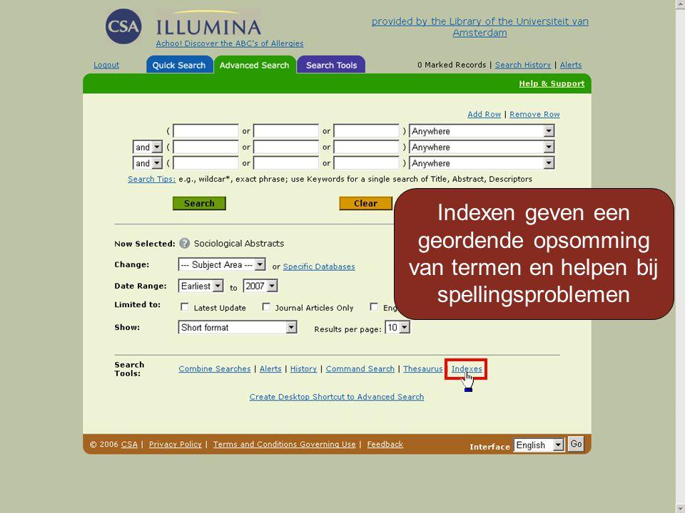 Indexen geven een geordende opsomming van termen en helpen bij spellingsproblemen