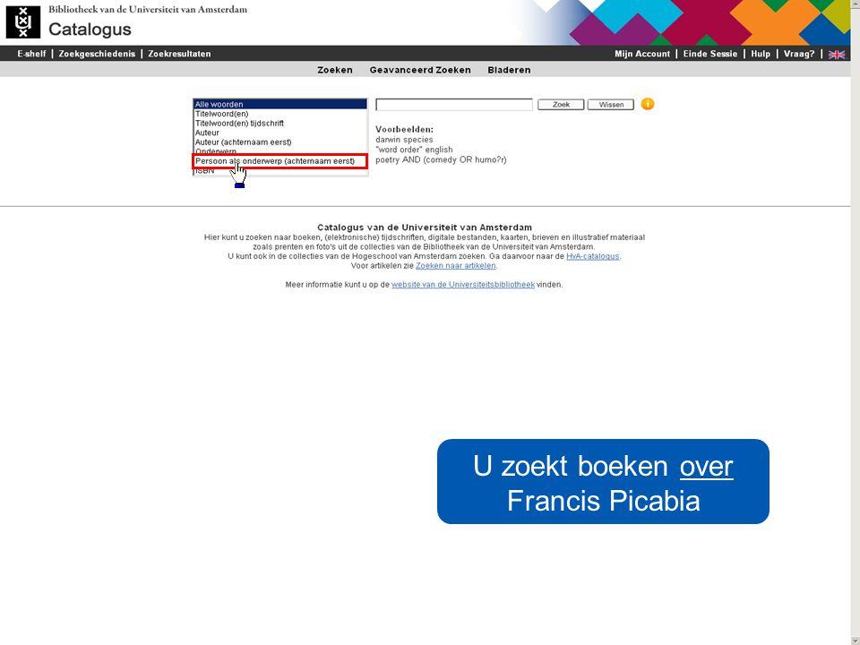 U zoekt boeken over Francis Picabia