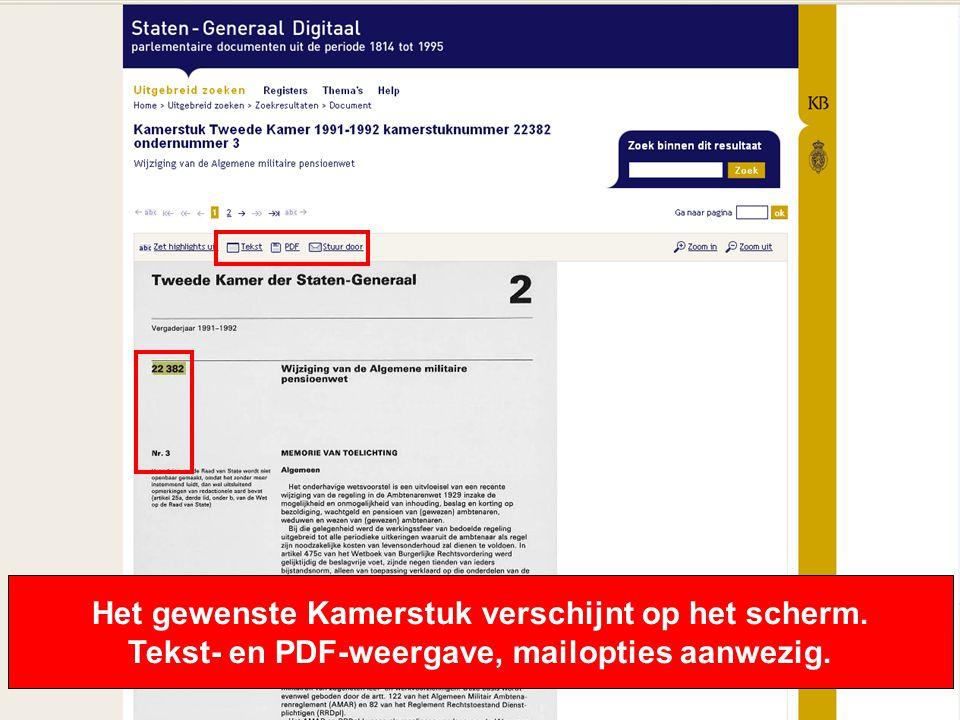 10 Het gewenste Kamerstuk verschijnt op het scherm. Tekst- en PDF-weergave, mailopties aanwezig.