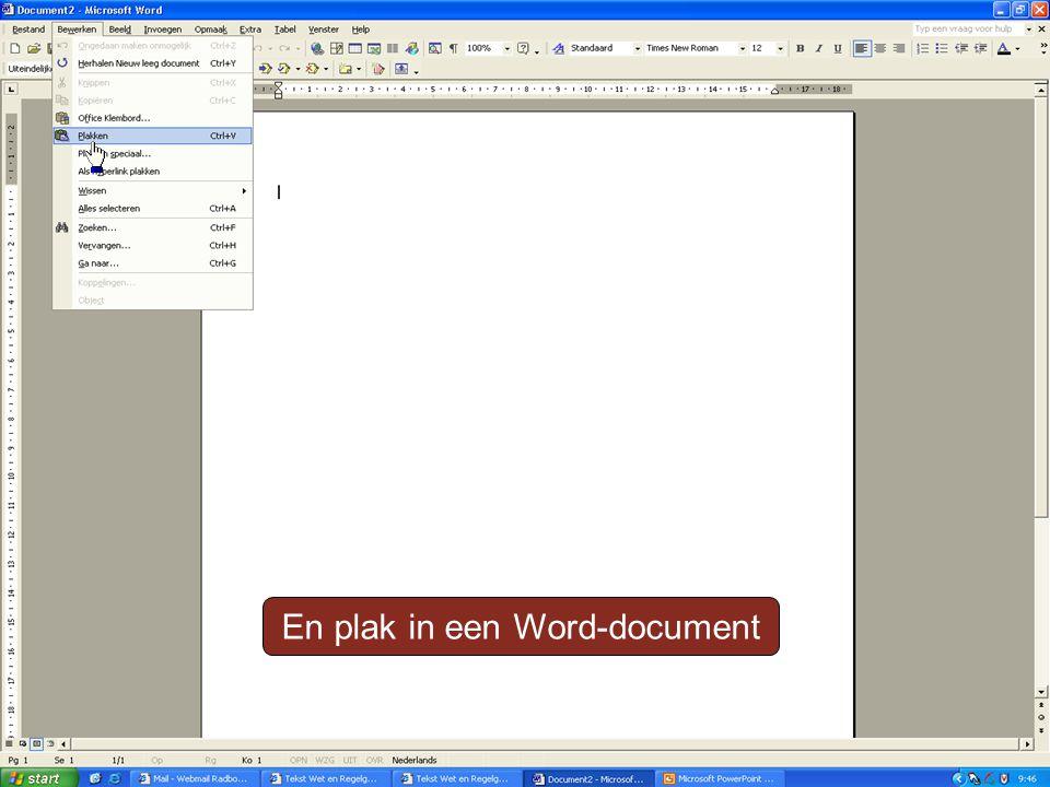 En plak in een Word-document