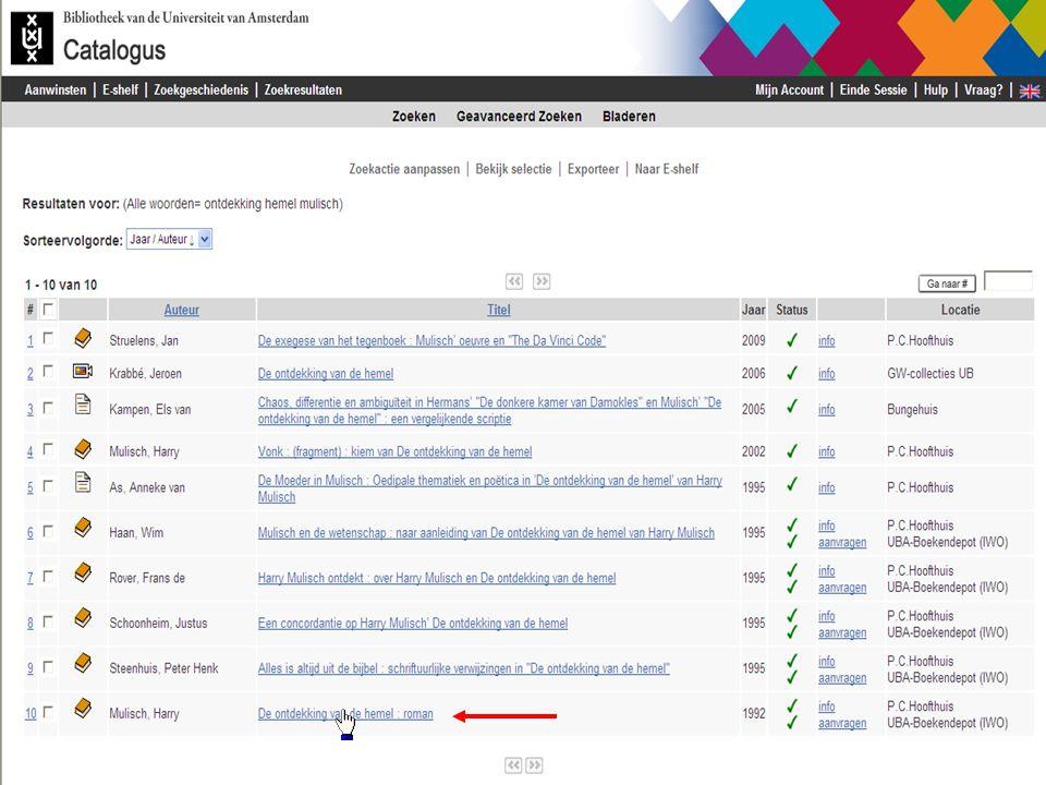 Samenvatting U zoekt snel met zoeksleutel alle woorden op woorden uit de titel + auteursnaam In Geavanceerd Zoeken kunt u met meerdere zoeksleutels tegelijk zoeken In Geavanceerd Zoeken kunt u inperken op jaar van uitgave