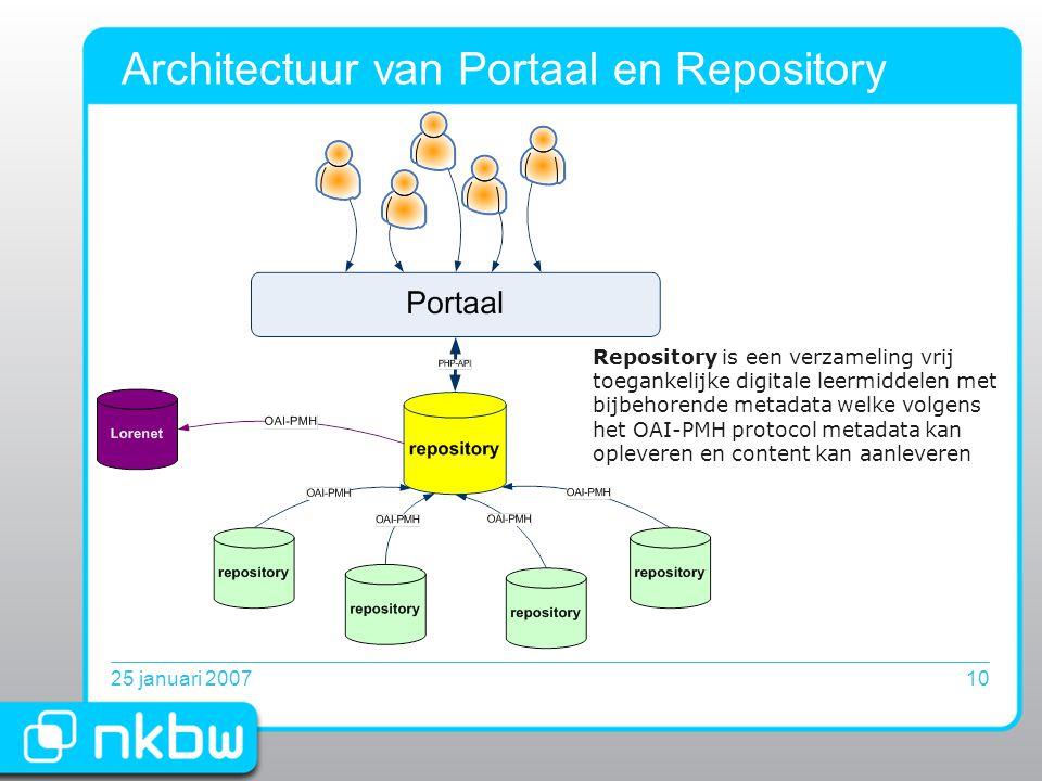 25 januari 200710 Architectuur van Portaal en Repository Repository is een verzameling vrij toegankelijke digitale leermiddelen met bijbehorende metadata welke volgens het OAI-PMH protocol metadata kan opleveren en content kan aanleveren
