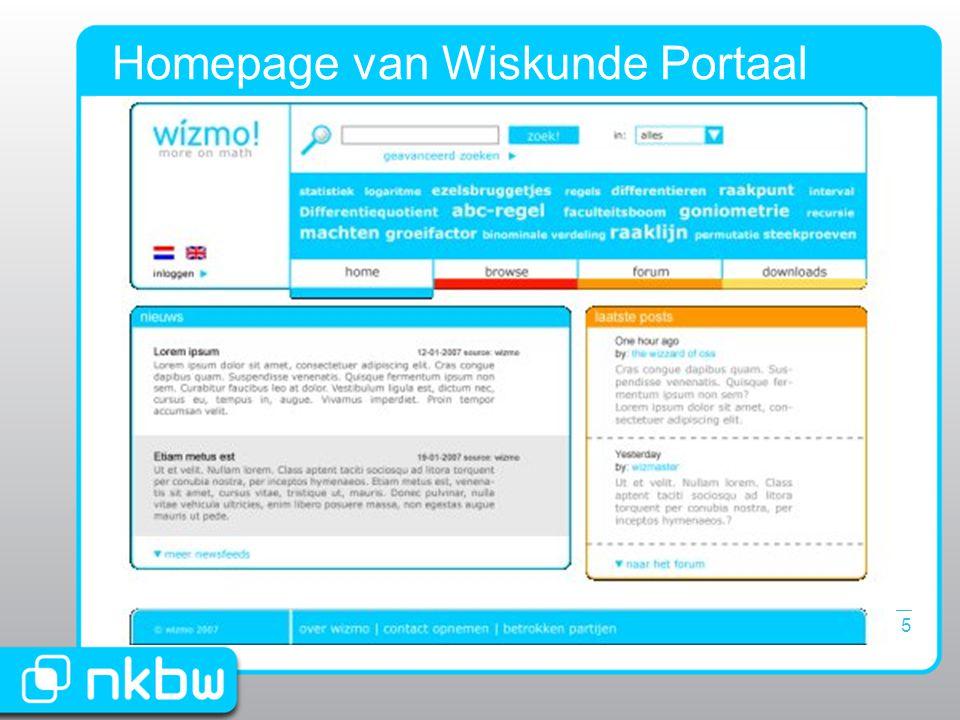 25 januari 20075 Homepage van Wiskunde Portaal