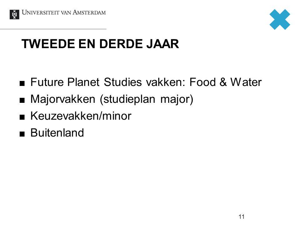 11 TWEEDE EN DERDE JAAR Future Planet Studies vakken: Food & Water Majorvakken (studieplan major) Keuzevakken/minor Buitenland