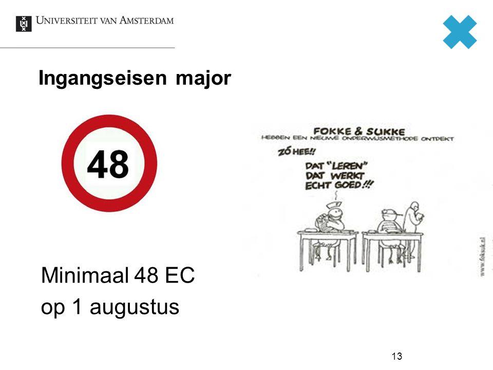 13 Ingangseisen major Minimaal 48 EC op 1 augustus