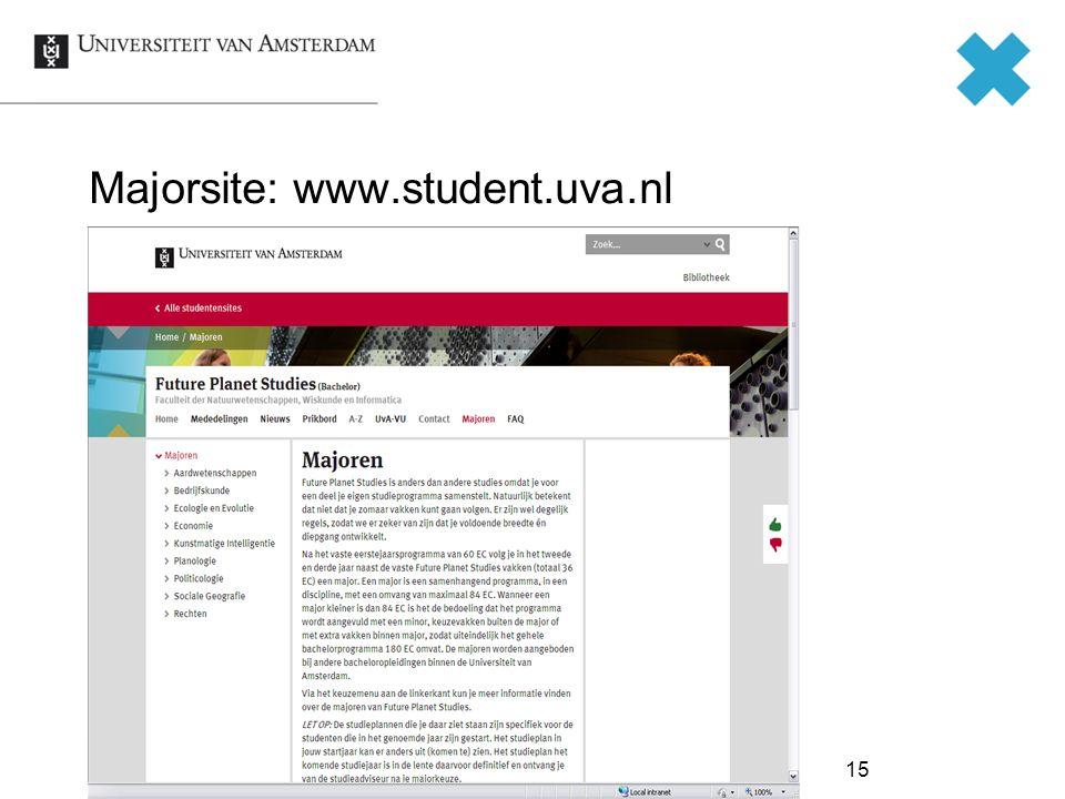 Majorsite: www.student.uva.nl 15