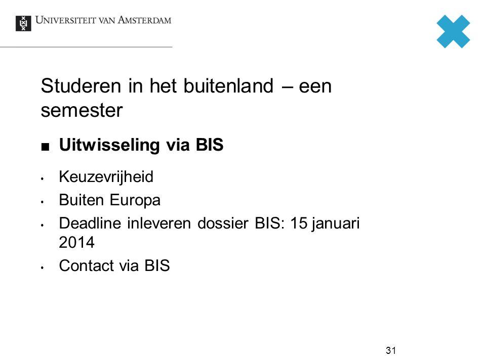 Studeren in het buitenland – een semester Uitwisseling via BIS Keuzevrijheid Buiten Europa Deadline inleveren dossier BIS: 15 januari 2014 Contact via BIS 31