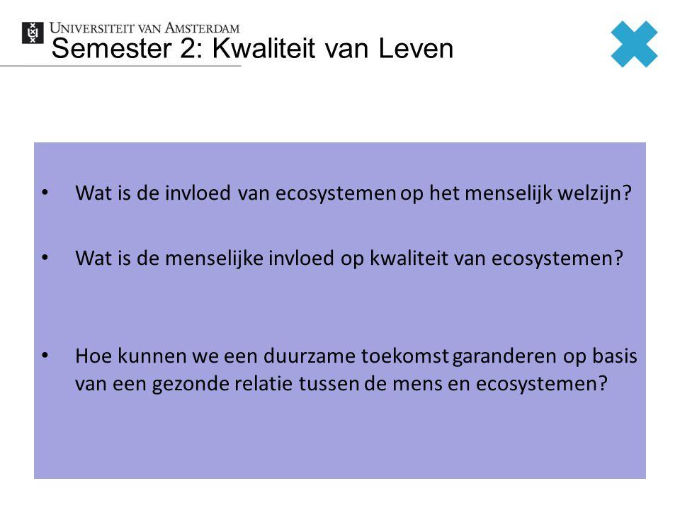 Semester 2: Kwaliteit van Leven Wat is de invloed van ecosystemen op het menselijk welzijn.