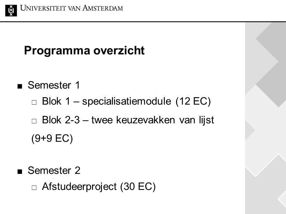Programma overzicht Semester 1  Blok 1 – specialisatiemodule (12 EC)  Blok 2-3 – twee keuzevakken van lijst (9+9 EC) Semester 2  Afstudeerproject (