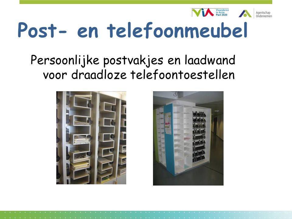 Post- en telefoonmeubel Persoonlijke postvakjes en laadwand voor draadloze telefoontoestellen