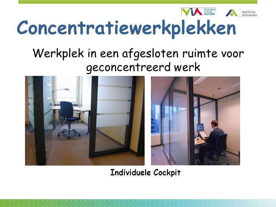Concentratiewerkplekken Werkplek in een afgesloten ruimte voor geconcentreerd werk Individuele Cockpit