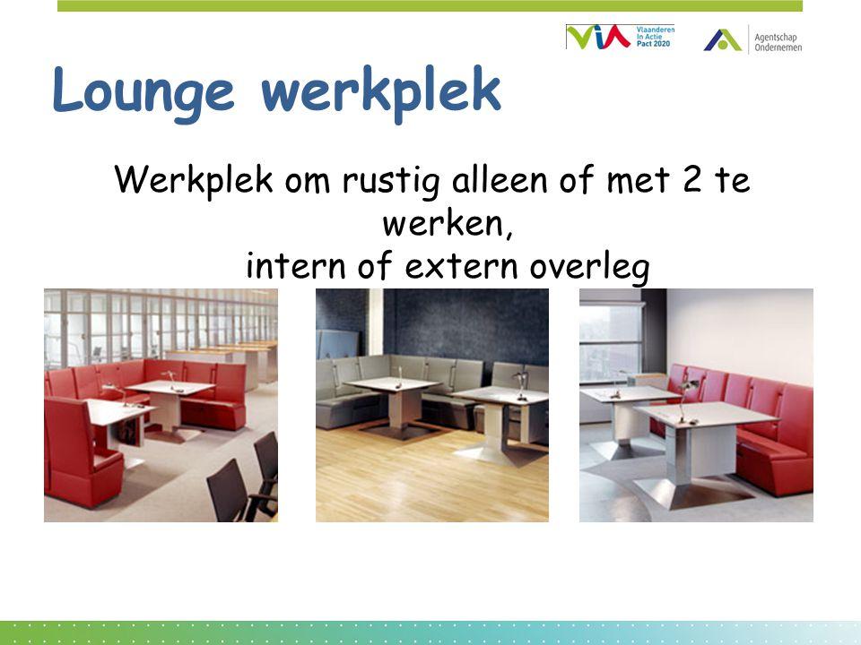 Lounge werkplek Werkplek om rustig alleen of met 2 te werken, intern of extern overleg