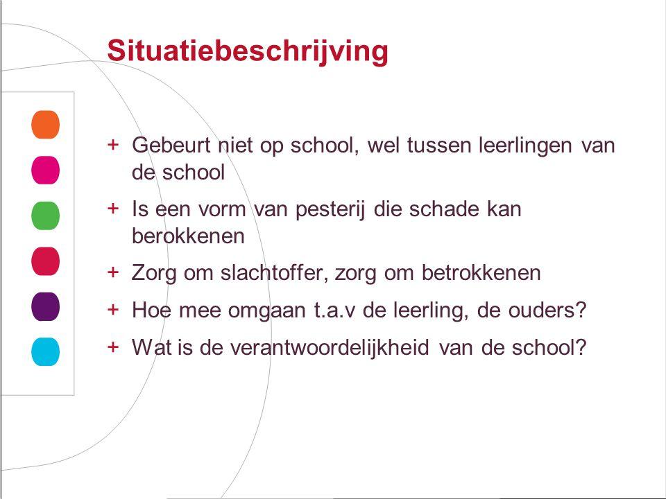 Situatiebeschrijving +Gebeurt niet op school, wel tussen leerlingen van de school +Is een vorm van pesterij die schade kan berokkenen +Zorg om slachtoffer, zorg om betrokkenen +Hoe mee omgaan t.a.v de leerling, de ouders.
