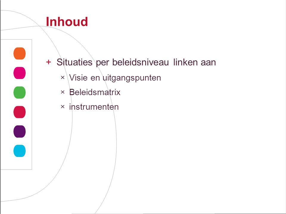 Inhoud +Situaties per beleidsniveau linken aan ×Visie en uitgangspunten ×Beleidsmatrix ×instrumenten