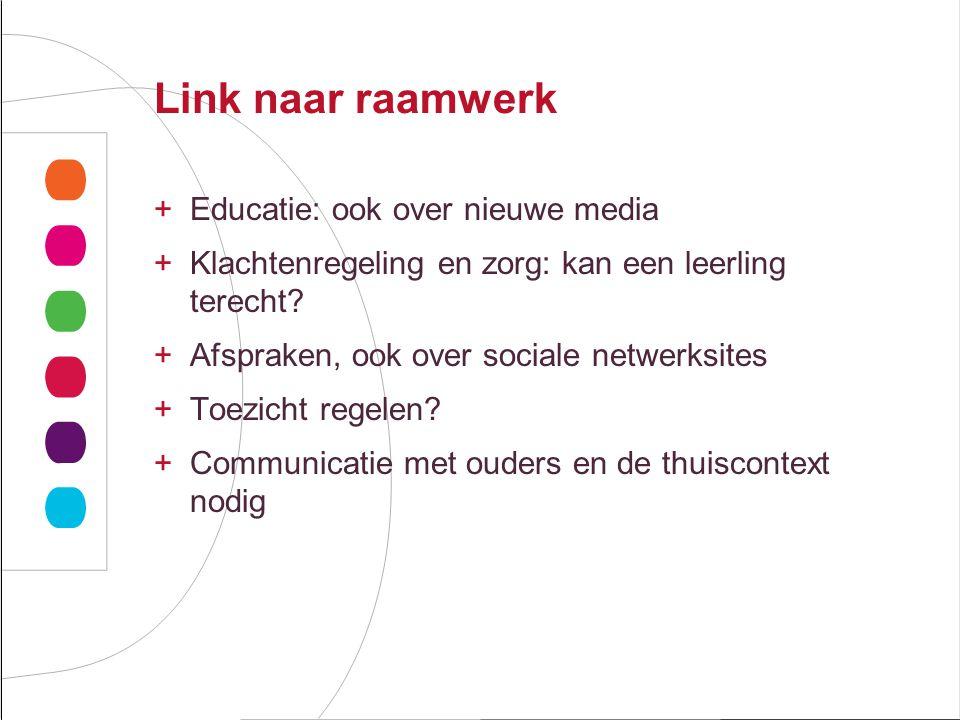 Link naar raamwerk +Educatie: ook over nieuwe media +Klachtenregeling en zorg: kan een leerling terecht.