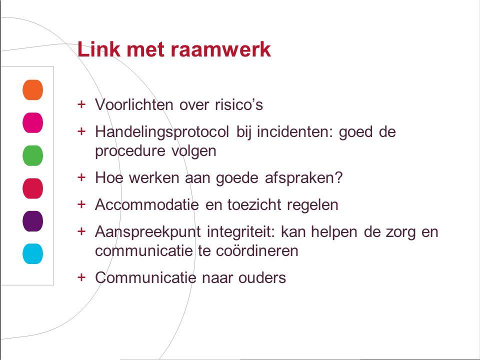 Link met raamwerk +Voorlichten over risico's +Handelingsprotocol bij incidenten: goed de procedure volgen +Hoe werken aan goede afspraken.