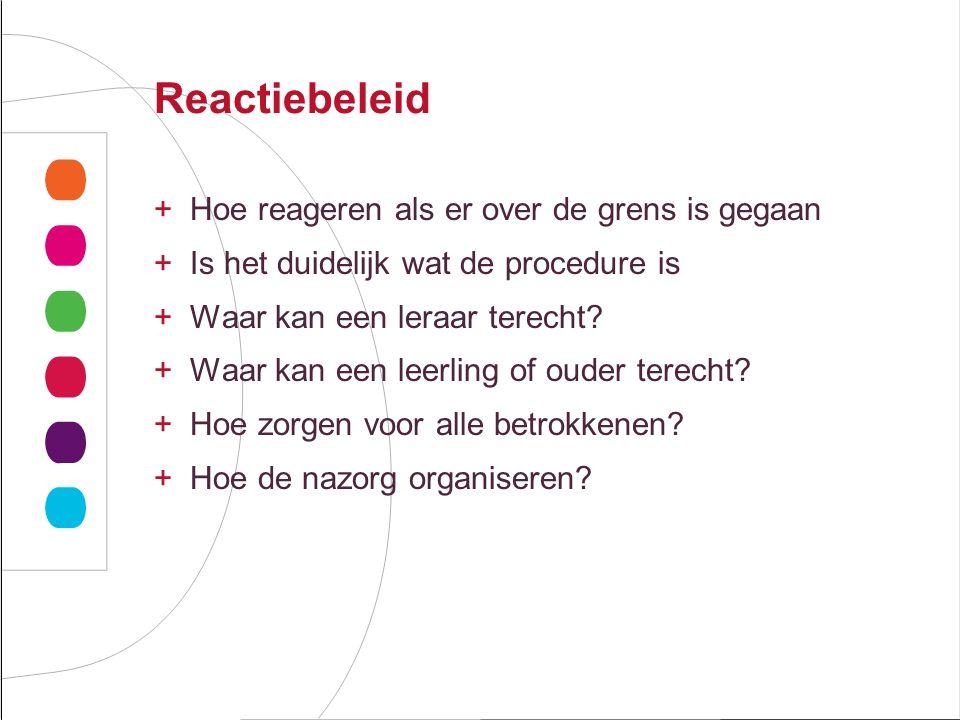 Reactiebeleid +Hoe reageren als er over de grens is gegaan +Is het duidelijk wat de procedure is +Waar kan een leraar terecht.