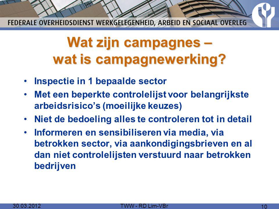 Wat zijn campagnes – wat is campagnewerking? Inspectie in 1 bepaalde sector Met een beperkte controlelijst voor belangrijkste arbeidsrisico's (moeilij