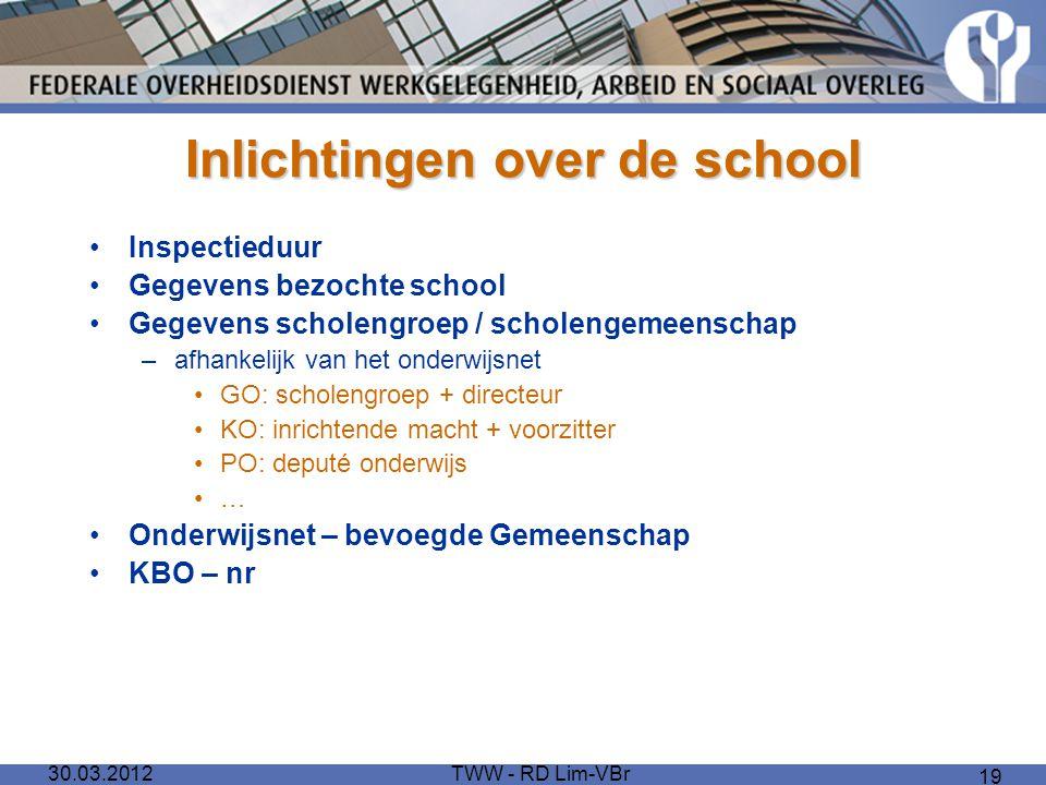 30.03.2012TWW - RD Lim-VBr 19 Inlichtingen over de school Inspectieduur Gegevens bezochte school Gegevens scholengroep / scholengemeenschap –afhankeli