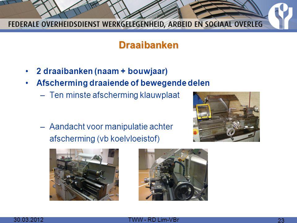 30.03.2012TWW - RD Lim-VBr 23 Draaibanken 2 draaibanken (naam + bouwjaar) Afscherming draaiende of bewegende delen –Ten minste afscherming klauwplaat
