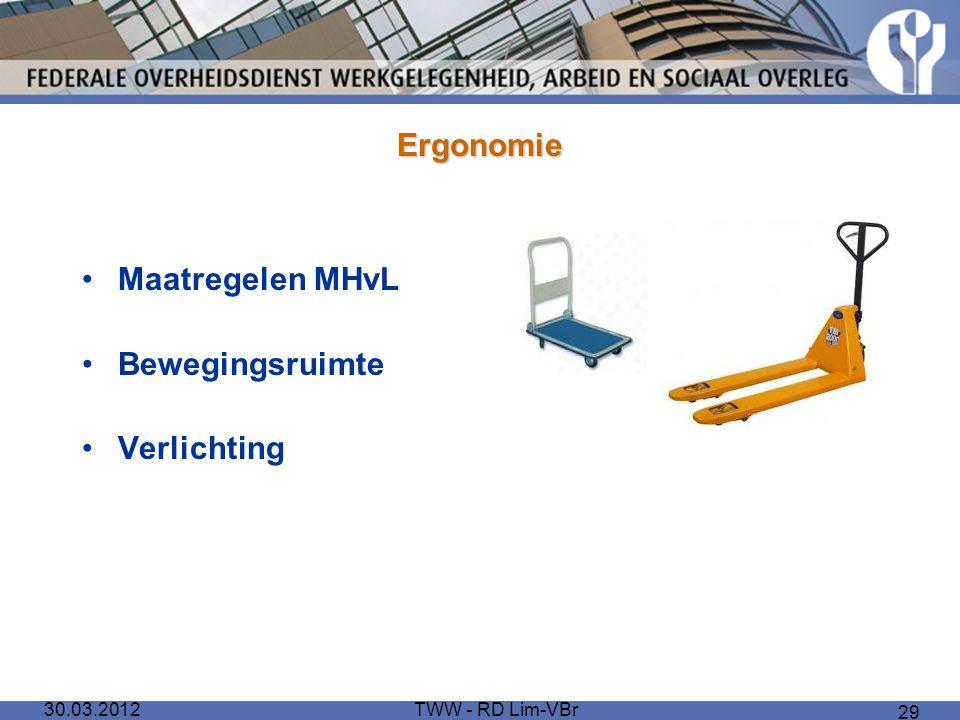 30.03.2012TWW - RD Lim-VBr 29 Ergonomie Maatregelen MHvL Bewegingsruimte Verlichting