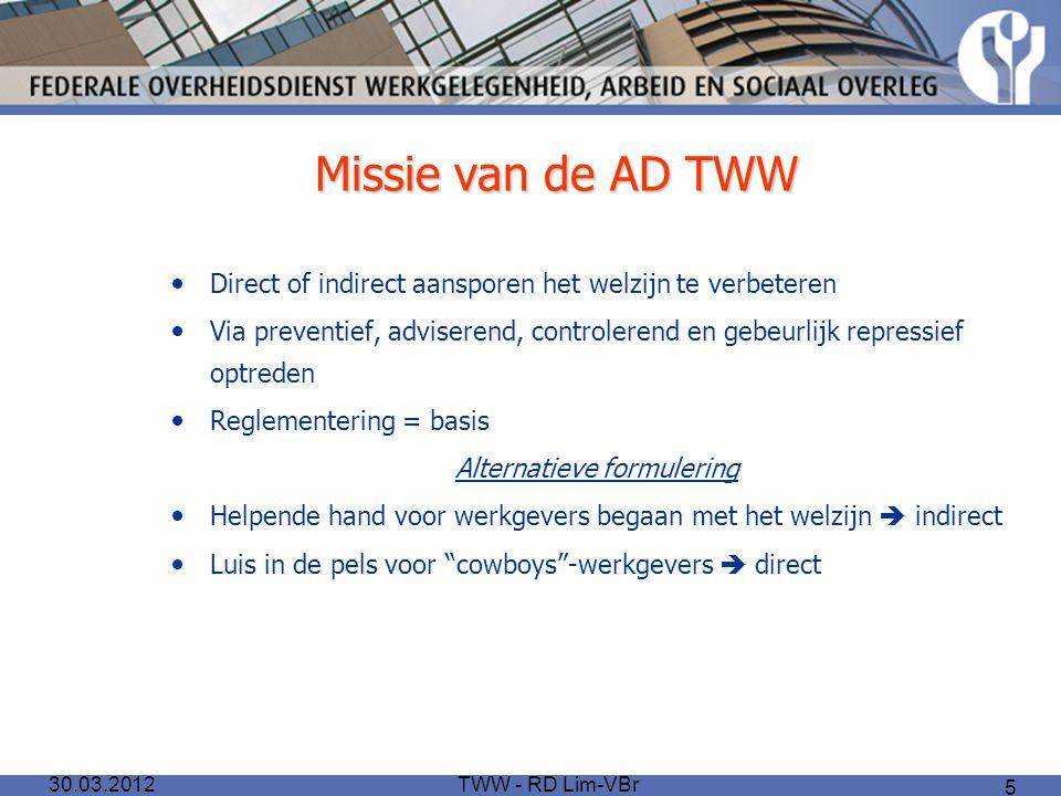 TWW - RD Lim-VBr 5 Missie van de AD TWW Direct of indirect aansporen het welzijn te verbeteren Via preventief, adviserend, controlerend en gebeurlijk