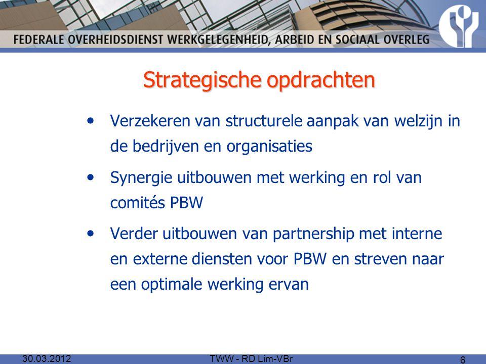 TWW - RD Lim-VBr 6 Strategische opdrachten Verzekeren van structurele aanpak van welzijn in de bedrijven en organisaties Synergie uitbouwen met werkin