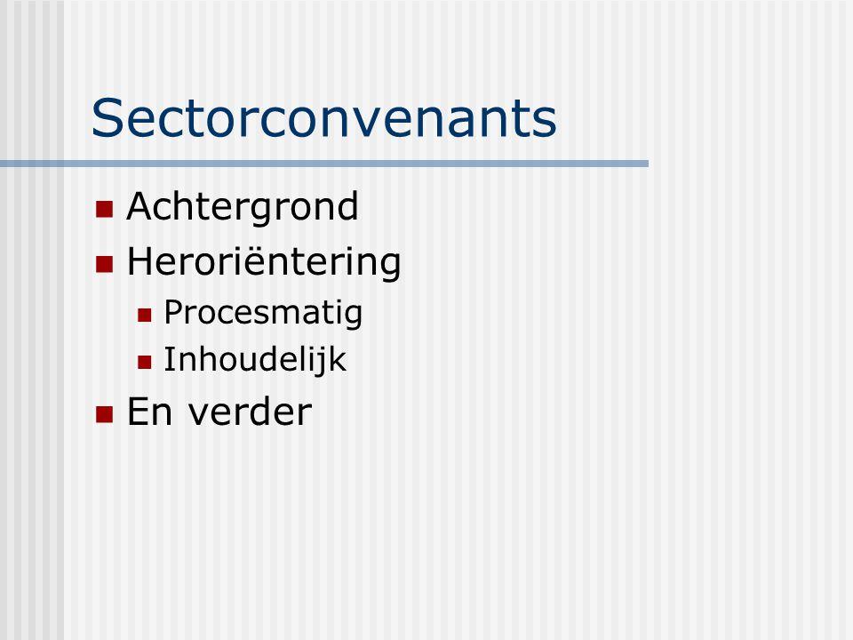 Sectorconvenants Achtergrond Heroriëntering Procesmatig Inhoudelijk En verder