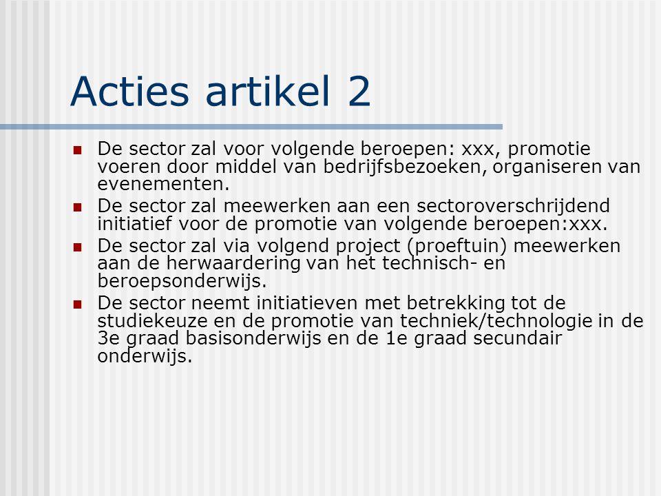 Acties artikel 2 De sector zal voor volgende beroepen: xxx, promotie voeren door middel van bedrijfsbezoeken, organiseren van evenementen.