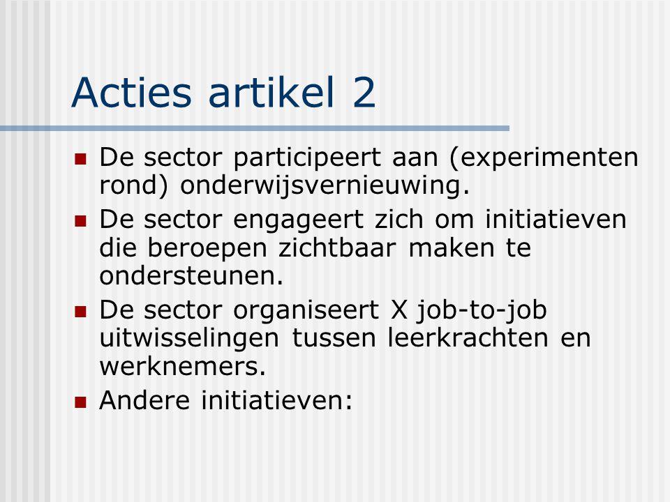 Acties artikel 2 De sector participeert aan (experimenten rond) onderwijsvernieuwing.