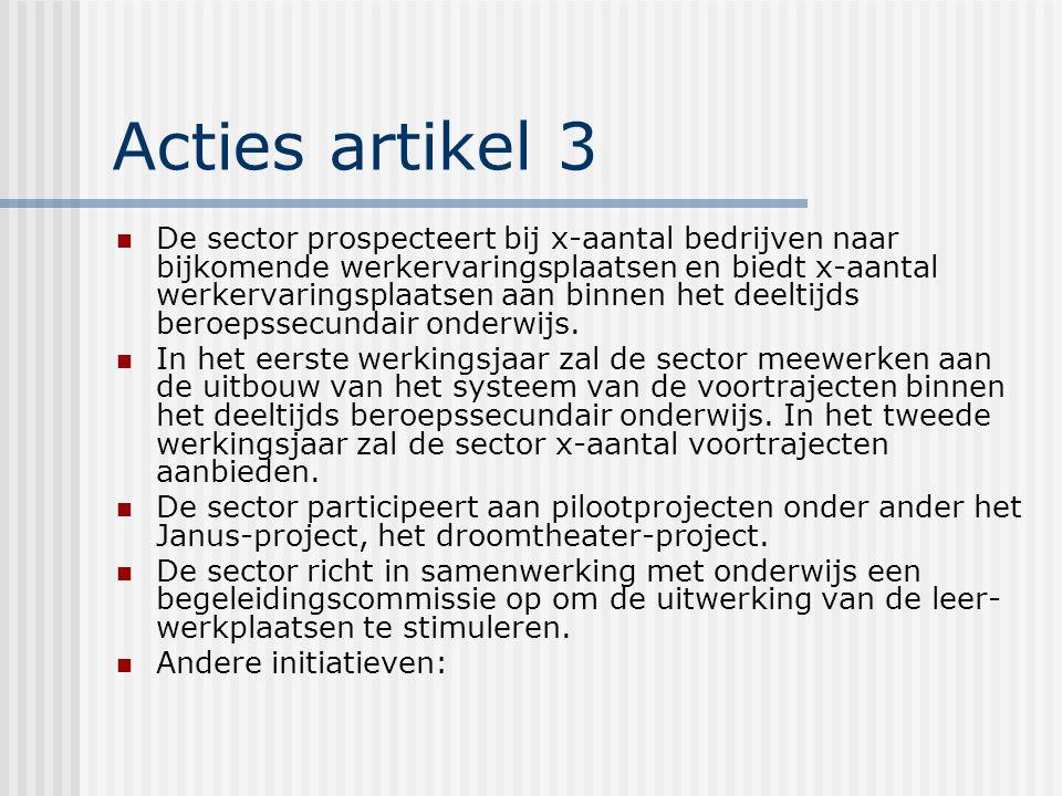 Acties artikel 3 De sector prospecteert bij x-aantal bedrijven naar bijkomende werkervaringsplaatsen en biedt x-aantal werkervaringsplaatsen aan binnen het deeltijds beroepssecundair onderwijs.