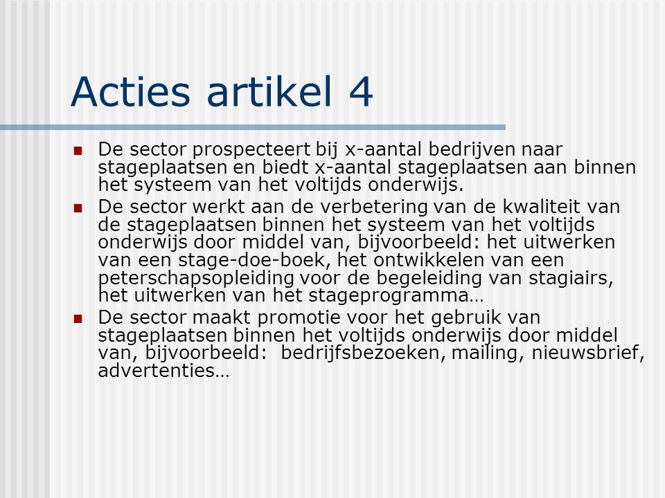 Acties artikel 4 De sector prospecteert bij x-aantal bedrijven naar stageplaatsen en biedt x-aantal stageplaatsen aan binnen het systeem van het voltijds onderwijs.