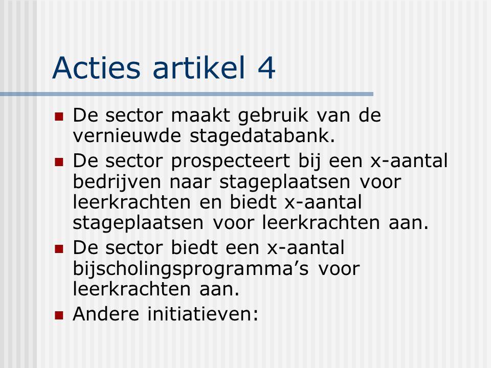 Acties artikel 4 De sector maakt gebruik van de vernieuwde stagedatabank.