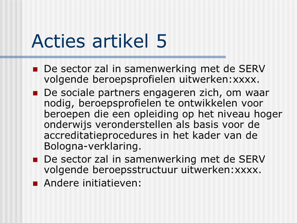Acties artikel 5 De sector zal in samenwerking met de SERV volgende beroepsprofielen uitwerken:xxxx.