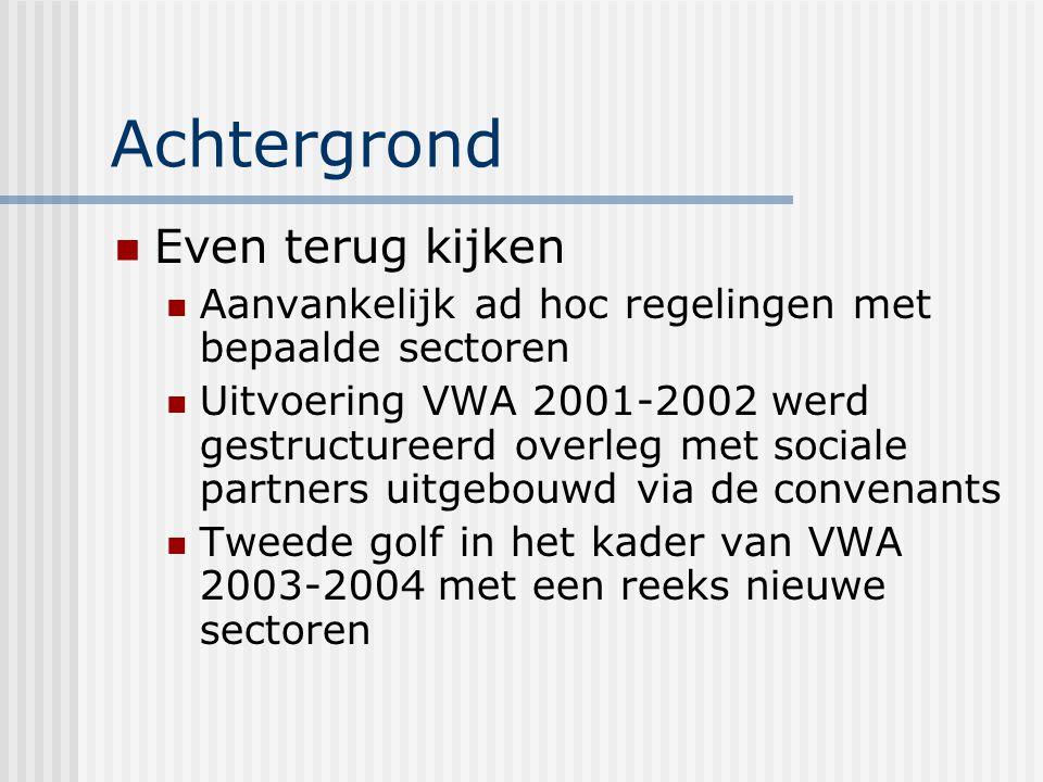 Achtergrond Even terug kijken Aanvankelijk ad hoc regelingen met bepaalde sectoren Uitvoering VWA 2001-2002 werd gestructureerd overleg met sociale partners uitgebouwd via de convenants Tweede golf in het kader van VWA 2003-2004 met een reeks nieuwe sectoren