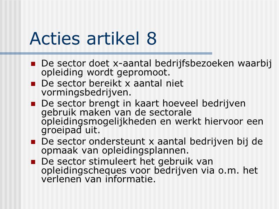 Acties artikel 8 De sector doet x-aantal bedrijfsbezoeken waarbij opleiding wordt gepromoot.