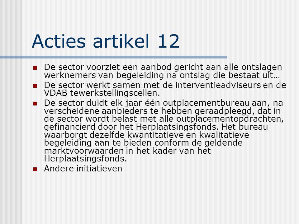 Acties artikel 12 De sector voorziet een aanbod gericht aan alle ontslagen werknemers van begeleiding na ontslag die bestaat uit… De sector werkt samen met de interventieadviseurs en de VDAB tewerkstellingscellen.