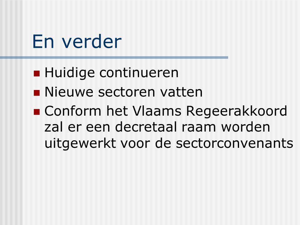 En verder Huidige continueren Nieuwe sectoren vatten Conform het Vlaams Regeerakkoord zal er een decretaal raam worden uitgewerkt voor de sectorconvenants